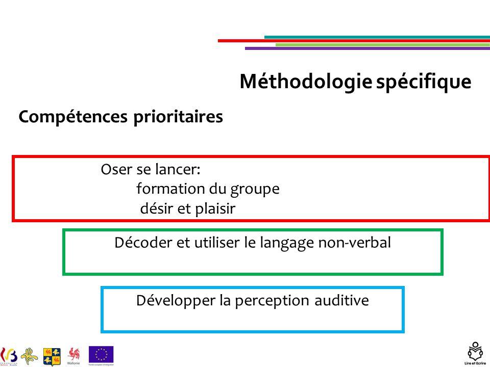 Compétences prioritaires Oser se lancer: formation du groupe désir et plaisir Décoder et utiliser le langage non-verbal Développer la perception auditive Méthodologie spécifique