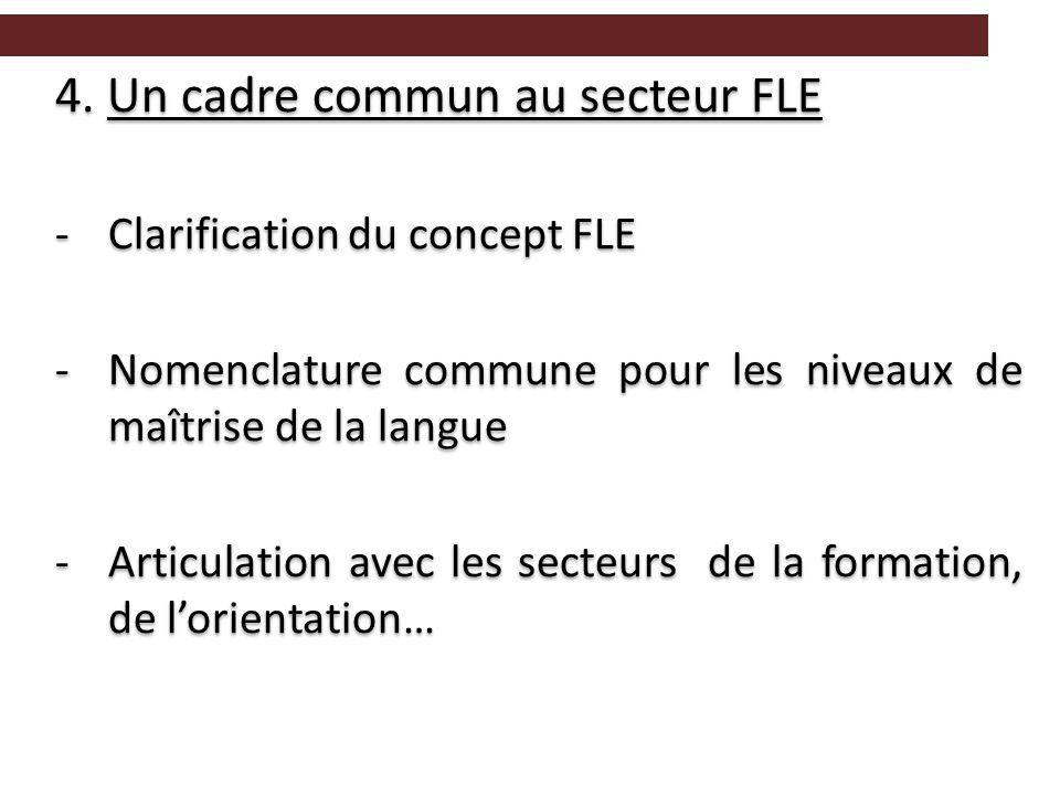 4. Un cadre commun au secteur FLE -Clarification du concept FLE -Nomenclature commune pour les niveaux de maîtrise de la langue -Articulation avec les