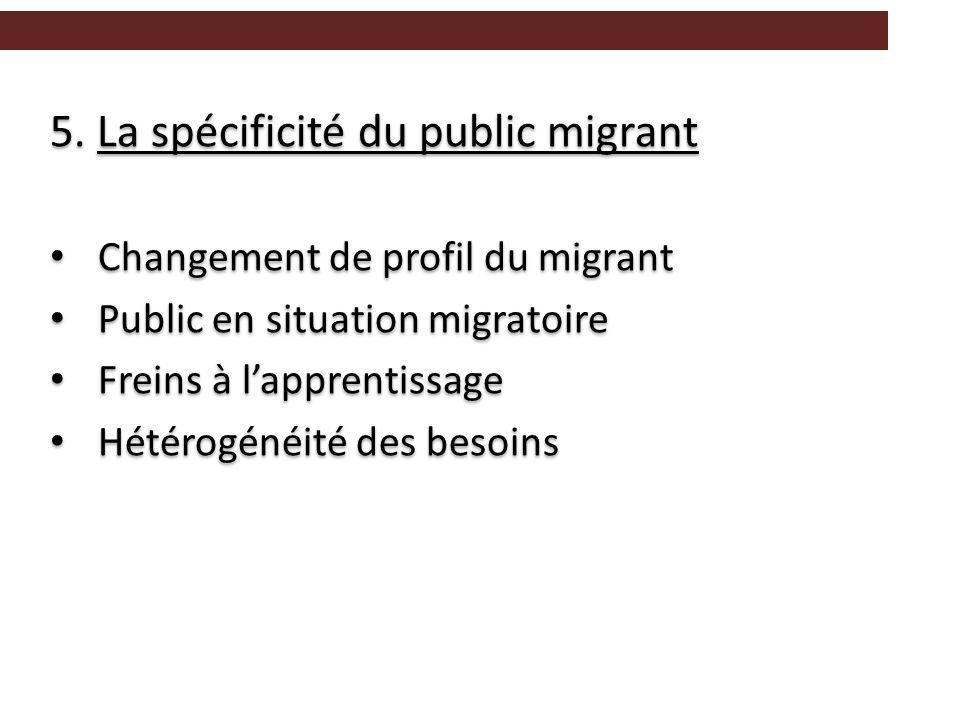 5. La spécificité du public migrant Changement de profil du migrant Public en situation migratoire Freins à l'apprentissage Hétérogénéité des besoins