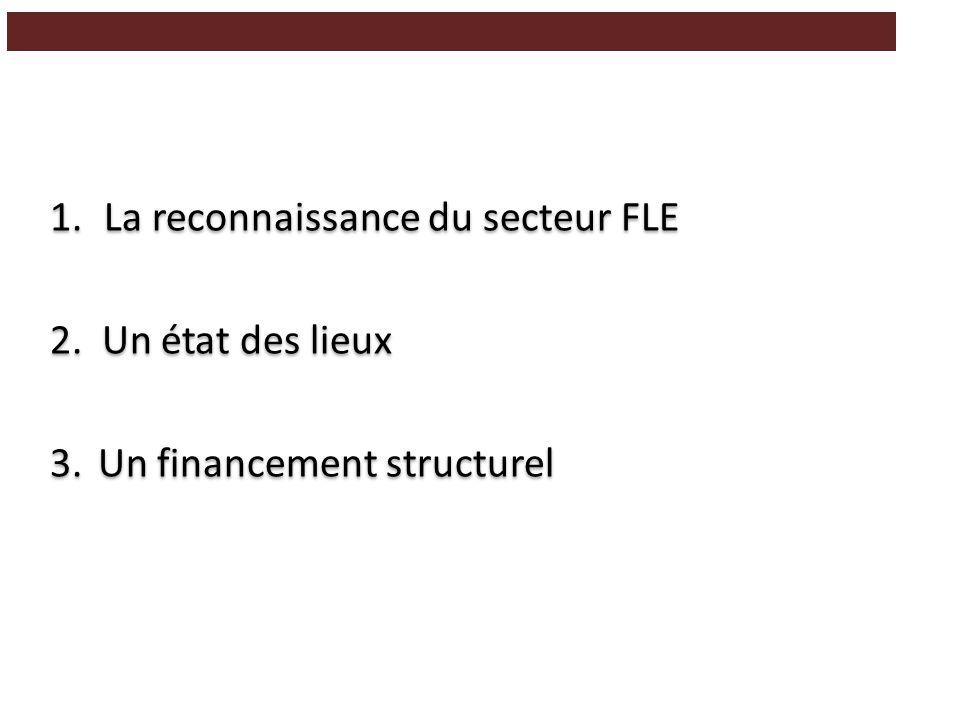 1.La reconnaissance du secteur FLE 2. Un état des lieux 3.