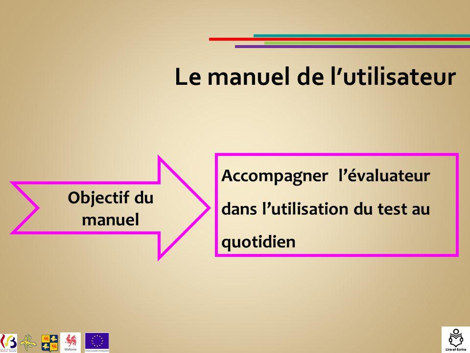 Le manuel de l'utilisateur Objectif du manuel Accompagner l'évaluateur dans l'utilisation du test au quotidien