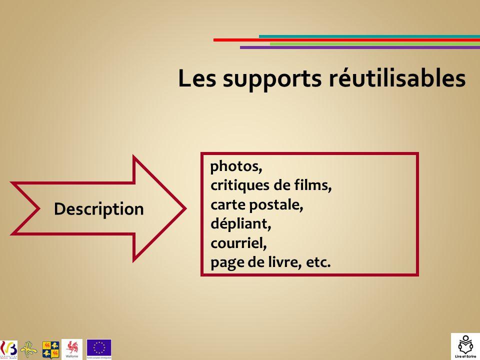 Les supports réutilisables Description photos, critiques de films, carte postale, dépliant, courriel, page de livre, etc.