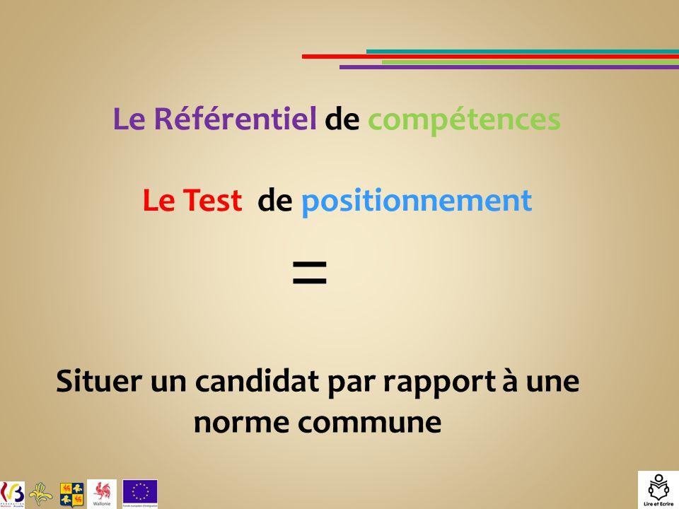 Le Référentiel de compétences Le Test de positionnement = Situer un candidat par rapport à une norme commune