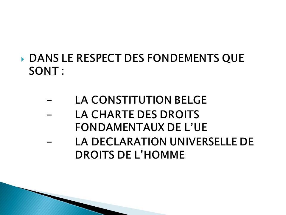  DANS LE RESPECT DES FONDEMENTS QUE SONT : -LA CONSTITUTION BELGE -LA CHARTE DES DROITS FONDAMENTAUX DE L'UE -LA DECLARATION UNIVERSELLE DE DROITS DE L'HOMME