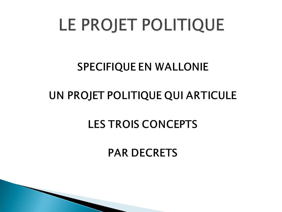 SPECIFIQUE EN WALLONIE UN PROJET POLITIQUE QUI ARTICULE LES TROIS CONCEPTS PAR DECRETS