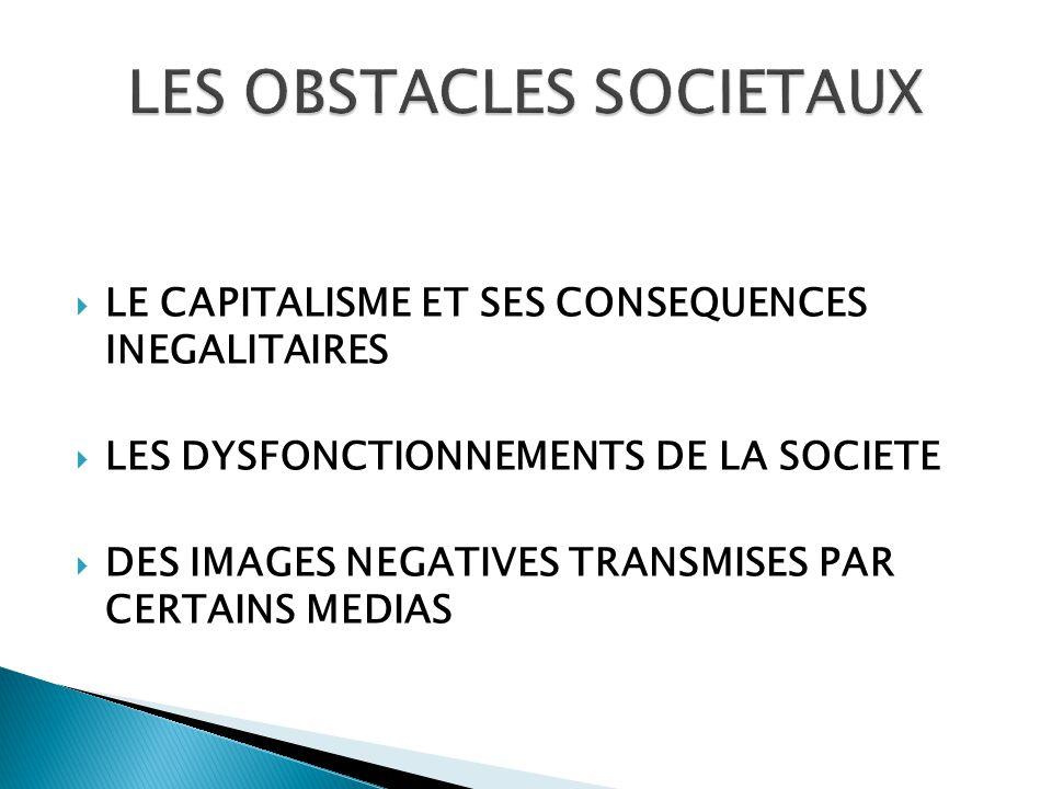  LE CAPITALISME ET SES CONSEQUENCES INEGALITAIRES  LES DYSFONCTIONNEMENTS DE LA SOCIETE  DES IMAGES NEGATIVES TRANSMISES PAR CERTAINS MEDIAS