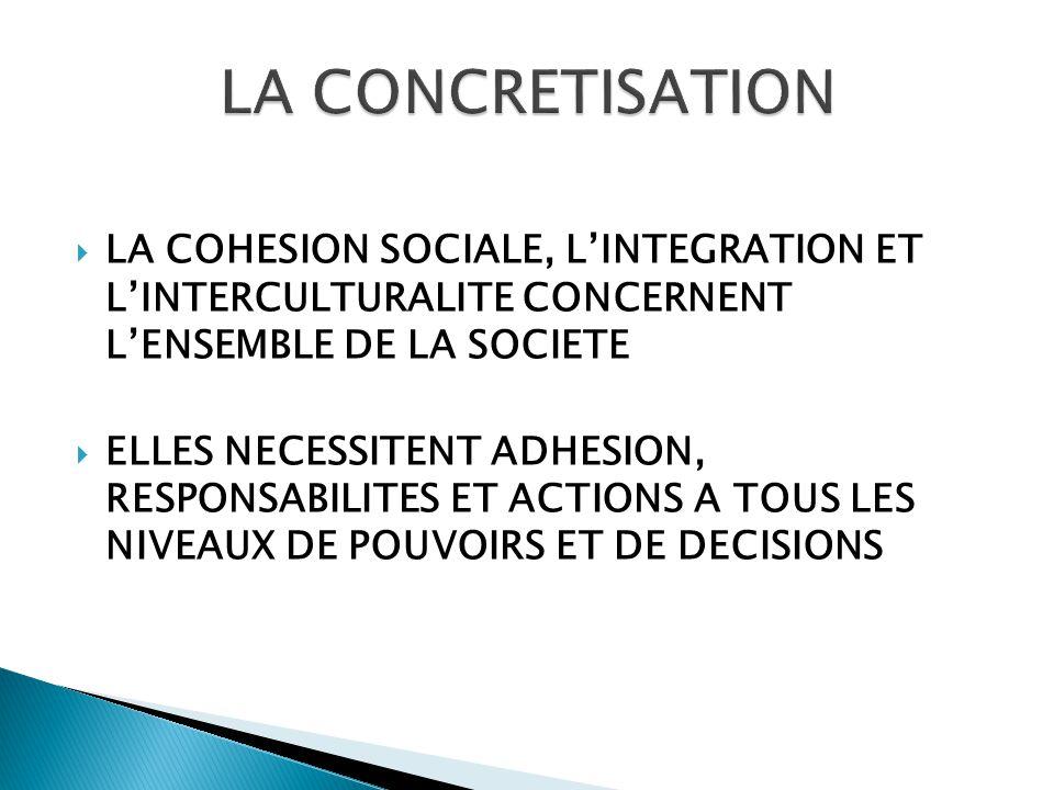  LA COHESION SOCIALE, L'INTEGRATION ET L'INTERCULTURALITE CONCERNENT L'ENSEMBLE DE LA SOCIETE  ELLES NECESSITENT ADHESION, RESPONSABILITES ET ACTIONS A TOUS LES NIVEAUX DE POUVOIRS ET DE DECISIONS