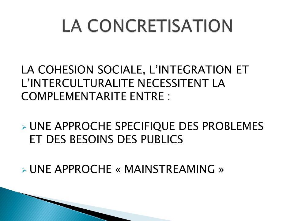 LA COHESION SOCIALE, L'INTEGRATION ET L'INTERCULTURALITE NECESSITENT LA COMPLEMENTARITE ENTRE :  UNE APPROCHE SPECIFIQUE DES PROBLEMES ET DES BESOINS DES PUBLICS  UNE APPROCHE « MAINSTREAMING »