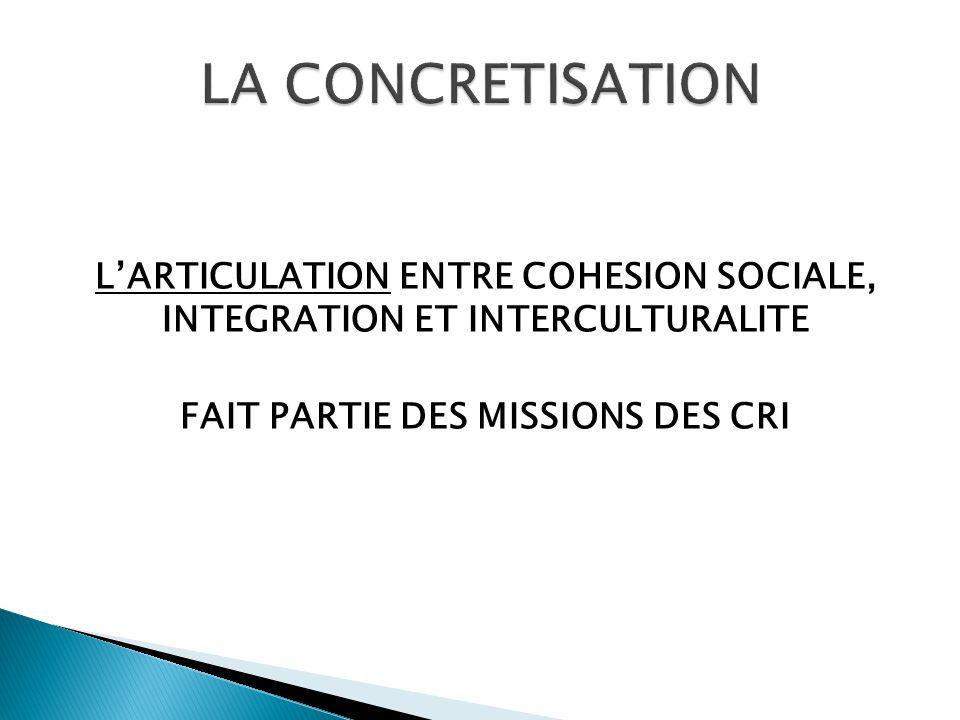 L'ARTICULATION ENTRE COHESION SOCIALE, INTEGRATION ET INTERCULTURALITE FAIT PARTIE DES MISSIONS DES CRI
