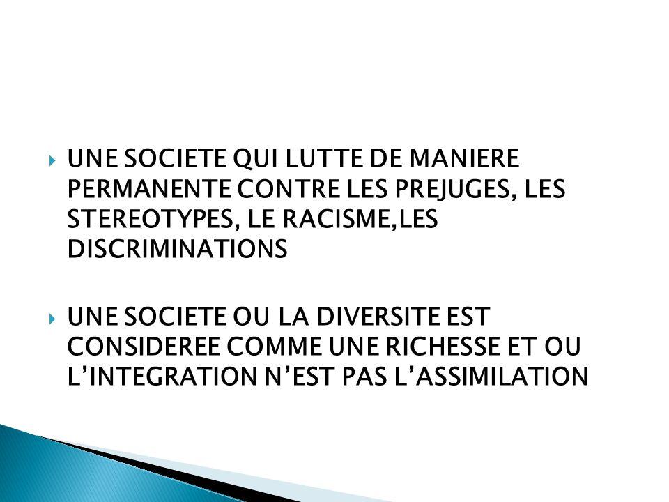  UNE SOCIETE QUI LUTTE DE MANIERE PERMANENTE CONTRE LES PREJUGES, LES STEREOTYPES, LE RACISME,LES DISCRIMINATIONS  UNE SOCIETE OU LA DIVERSITE EST CONSIDEREE COMME UNE RICHESSE ET OU L'INTEGRATION N'EST PAS L'ASSIMILATION