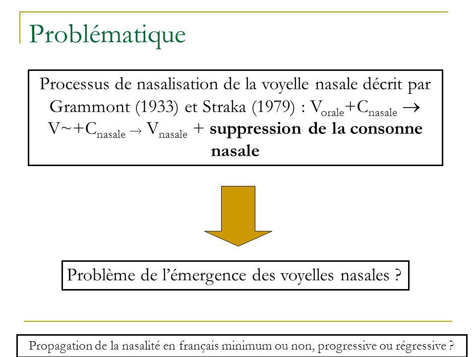 Problématique Problème de l'émergence des voyelles nasales .