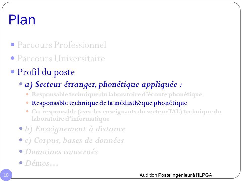Plan Audition Poste Ingénieur à l'ILPGA 10 Parcours Professionnel Parcours Universitaire Profil du poste a) Secteur étranger, phonétique appliquée : R