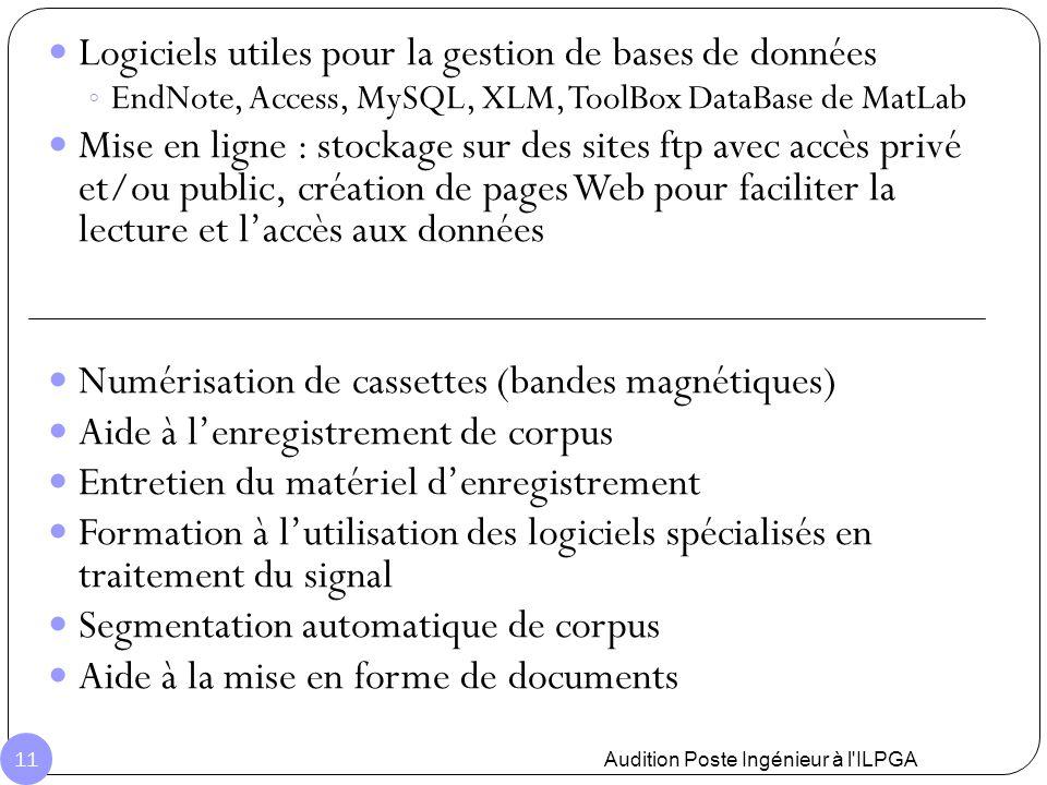 Logiciels utiles pour la gestion de bases de données ◦ EndNote, Access, MySQL, XLM, ToolBox DataBase de MatLab Mise en ligne : stockage sur des sites