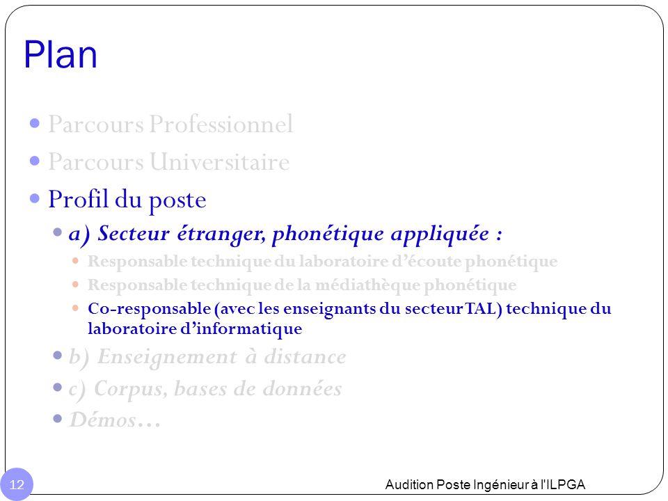 Plan Audition Poste Ingénieur à l'ILPGA 12 Parcours Professionnel Parcours Universitaire Profil du poste a) Secteur étranger, phonétique appliquée : R