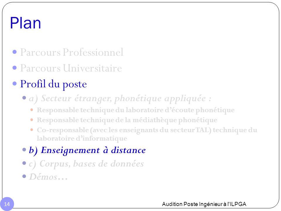 Plan Audition Poste Ingénieur à l'ILPGA 14 Parcours Professionnel Parcours Universitaire Profil du poste a) Secteur étranger, phonétique appliquée : R