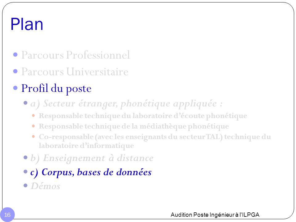 Plan Audition Poste Ingénieur à l'ILPGA 16 Parcours Professionnel Parcours Universitaire Profil du poste a) Secteur étranger, phonétique appliquée : R