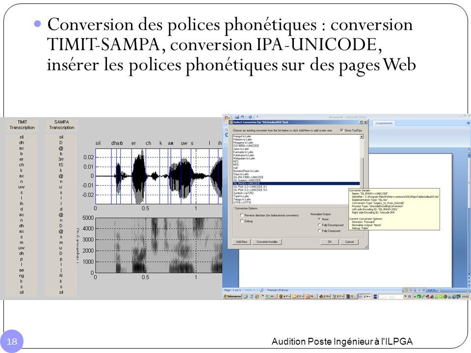 Conversion des polices phonétiques : conversion TIMIT-SAMPA, conversion IPA-UNICODE, insérer les polices phonétiques sur des pages Web Audition Poste