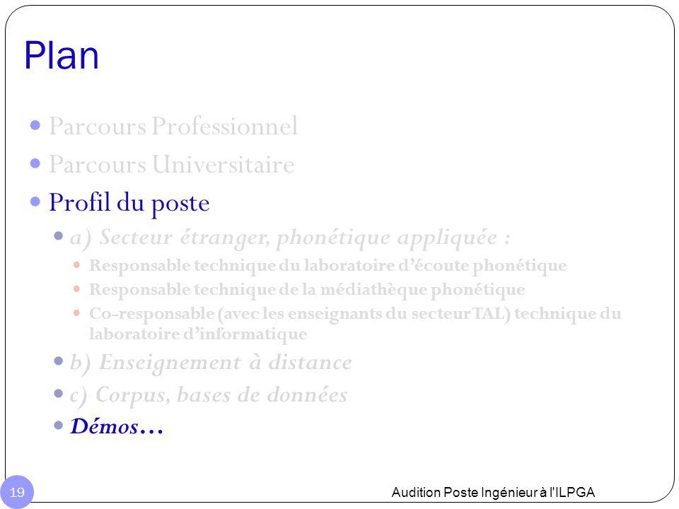 Plan Audition Poste Ingénieur à l'ILPGA 19 Parcours Professionnel Parcours Universitaire Profil du poste a) Secteur étranger, phonétique appliquée : R