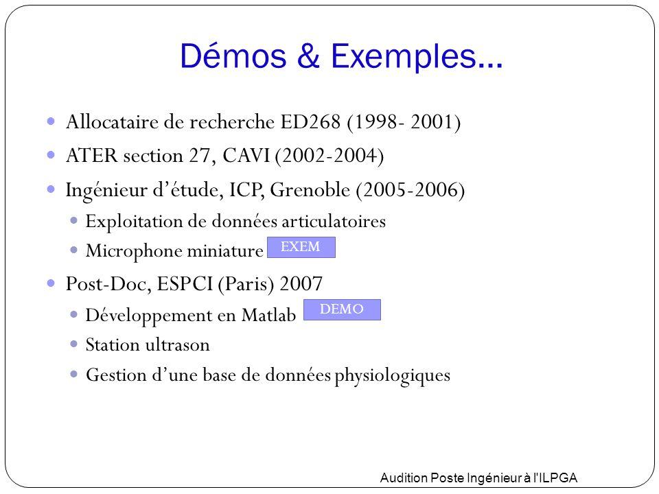 Démos & Exemples… Allocataire de recherche ED268 (1998- 2001) ATER section 27, CAVI (2002-2004) Ingénieur d'étude, ICP, Grenoble (2005-2006) Exploitat