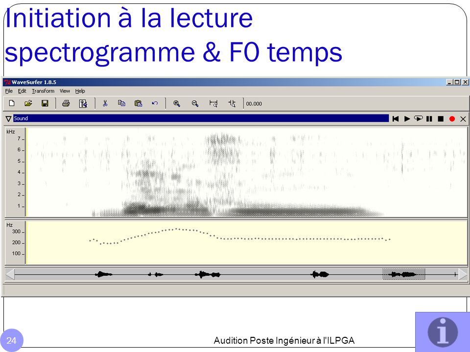 Initiation à la lecture spectrogramme & F0 temps Audition Poste Ingénieur à l ILPGA 24