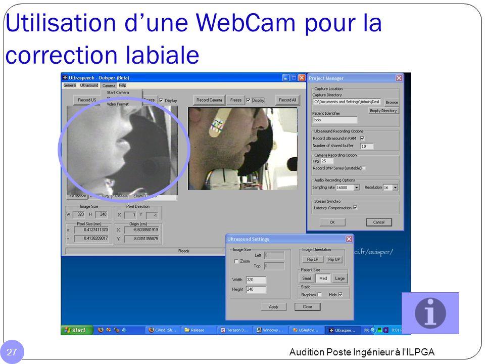 Utilisation d'une WebCam pour la correction labiale Audition Poste Ingénieur à l'ILPGA 27