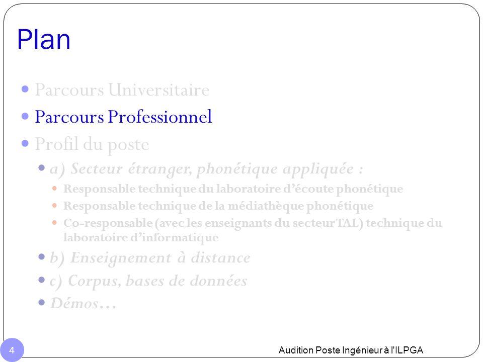 Parcours Professionnel Allocataire de recherche ED268 (1998- 2001) ATER section 27, CAVI (2002-2004) Ingénieur d'étude, ICP, Grenoble (2005-2006) Exploitation de données articulatoires Microphone miniature Post-Doc, ESPCI (Paris) 2007 Développement en Matlab Station ultrason Gestion d'une base de données physiologiques EXEM DEMO Audition Poste Ingénieur à l ILPGA 5