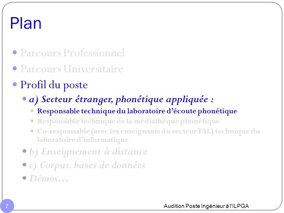 Plan Audition Poste Ingénieur à l'ILPGA 7 Parcours Professionnel Parcours Universitaire Profil du poste a) Secteur étranger, phonétique appliquée : Re