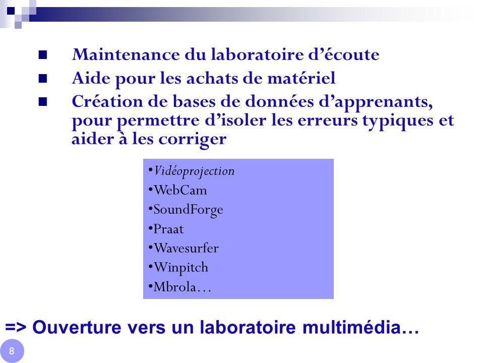 Développement du secteur étranger Audition Poste Ingénieur à l ILPGA 9 Création d'exercices avec comparaison de suites sonores Visualisation des erreurs temps réel (spectrogrammes & Wavesurfer) Courbe mélodique temps réel (Wavesurfer, Winpitch,…) Synthèse de la voix (Mbrola) Correction de la nasalité (Piezzo, Nasograph) Correction de la labialité (WebCam) Correction de l'articulation linguale (US) Développement de scripts Praat pour aider et visualiser sa prononciation DEMO EXEM DEMO EXEM DEMO