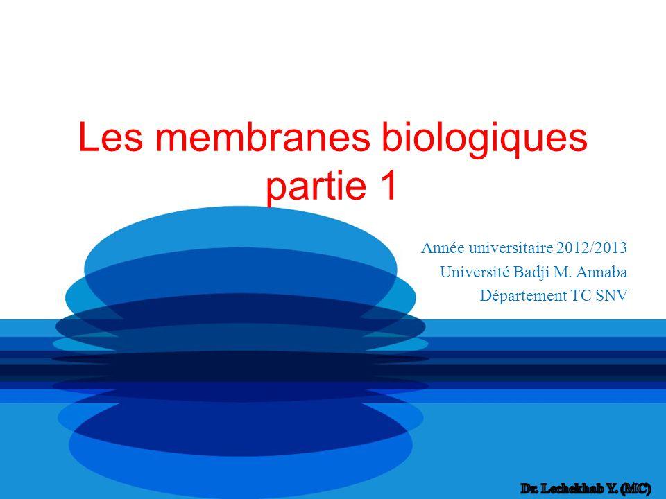 Les membranes biologiques partie 1 Année universitaire 2012/2013 Université Badji M. Annaba Département TC SNV
