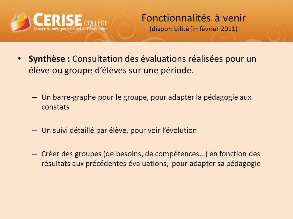 Synthèse : Consultation des évaluations réalisées pour un élève ou groupe d'élèves sur une période. – Un barre-graphe pour le groupe, pour adapter la