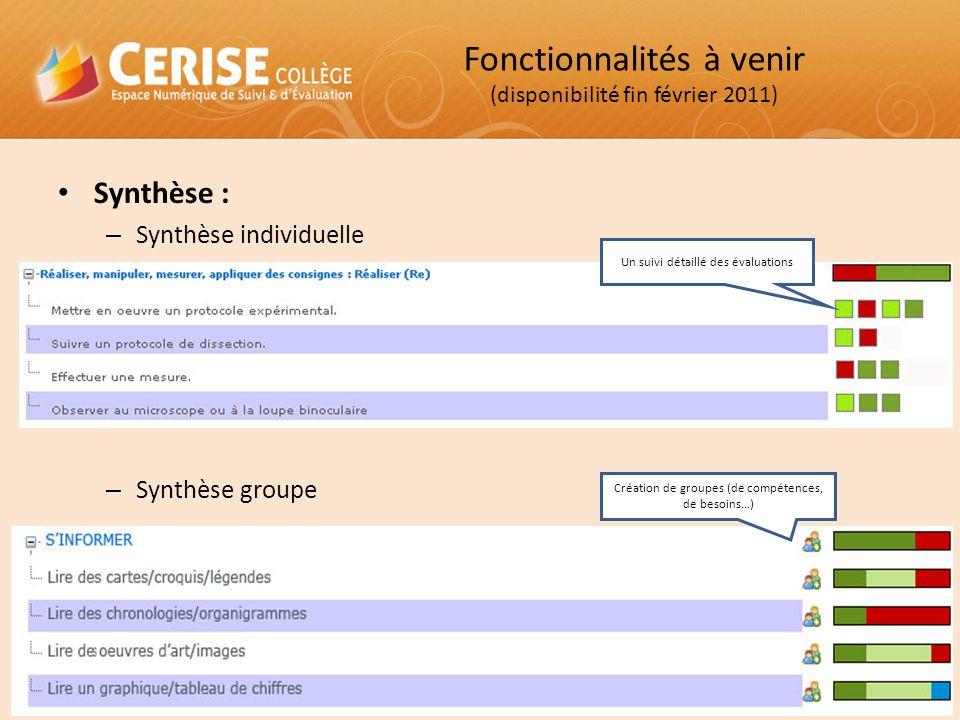 Synthèse : – Synthèse individuelle – Synthèse groupe Un suivi détaillé des évaluations Création de groupes (de compétences, de besoins…) Fonctionnalit