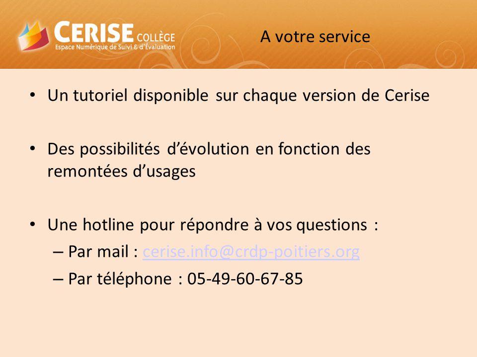 A votre service Un tutoriel disponible sur chaque version de Cerise Des possibilités d'évolution en fonction des remontées d'usages Une hotline pour r