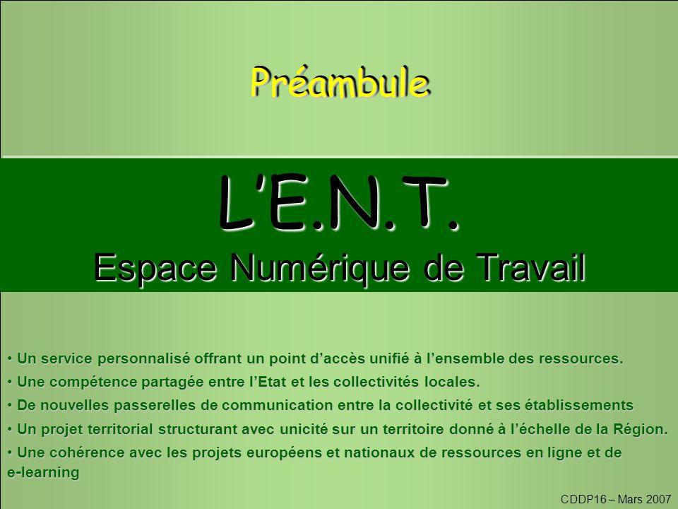 CDDP16 – Mars 2007 L'E.N.T. Espace Numérique de Travail L'E.N.T.