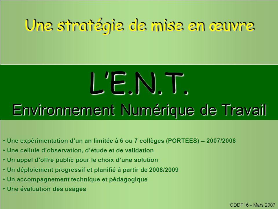 CDDP16 – Mars 2007 L'E.N.T. Environnement Numérique de Travail L'E.N.T.