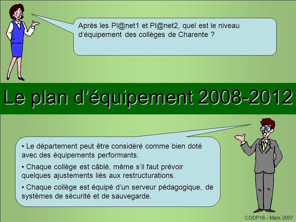 Le plan d'équipement 2008-2012 Après les Pl@net1 et Pl@net2, quel est le niveau d'équipement des collèges de Charente .