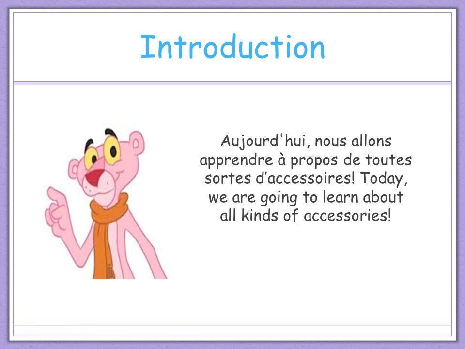 Introduction Aujourd hui, nous allons apprendre à propos de toutes sortes d'accessoires.