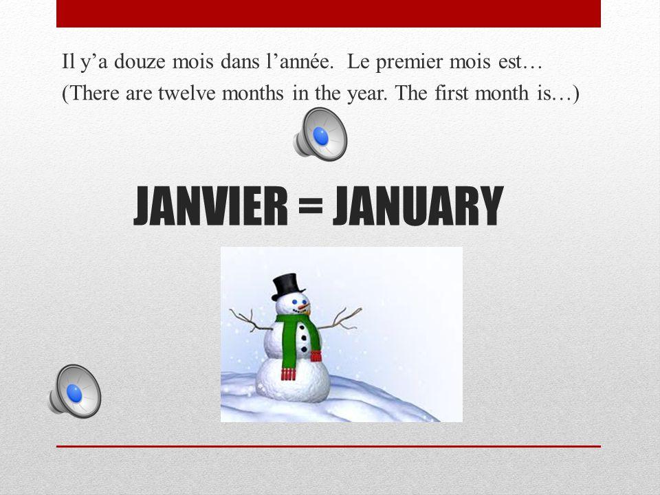 JANVIER = JANUARY Il y'a douze mois dans l'année.