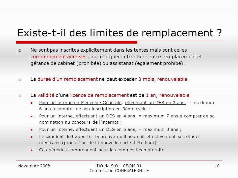 Novembre 2008JJO de StO - CDOM 31 Commission CONFRATERNITE 10 Existe-t-il des limites de remplacement ?  Ne sont pas inscrites explicitement dans les
