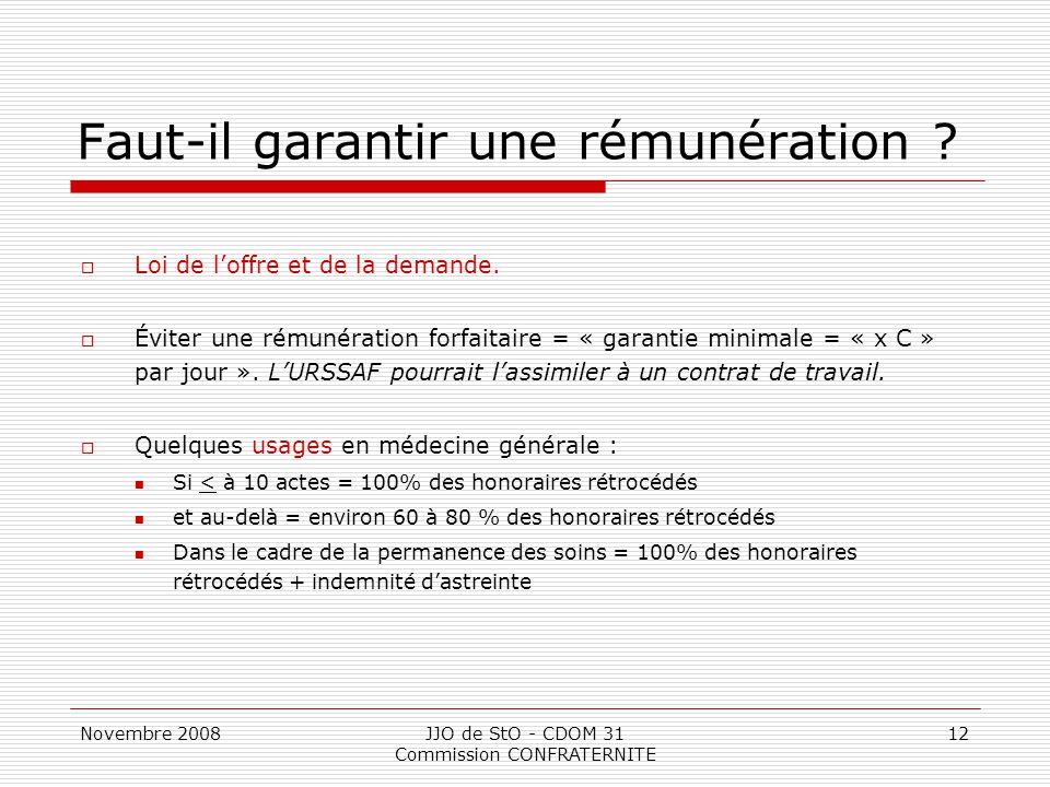 Novembre 2008JJO de StO - CDOM 31 Commission CONFRATERNITE 12 Faut-il garantir une rémunération ?  Loi de l'offre et de la demande.  Éviter une rému