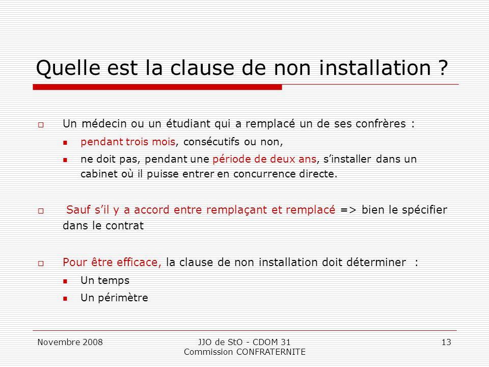 Novembre 2008JJO de StO - CDOM 31 Commission CONFRATERNITE 13 Quelle est la clause de non installation ?  Un médecin ou un étudiant qui a remplacé un