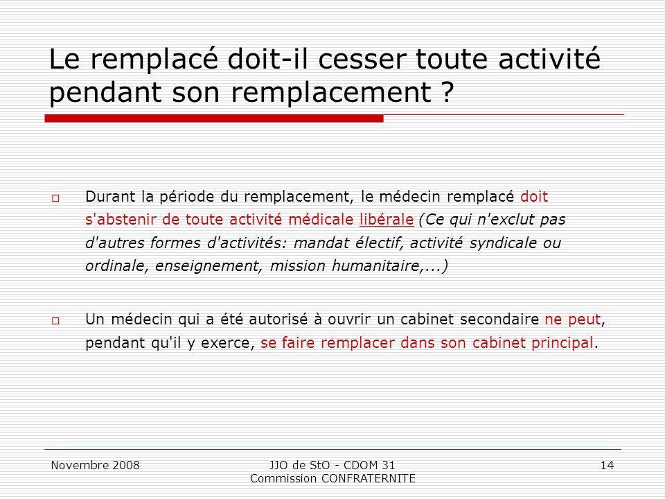 Novembre 2008JJO de StO - CDOM 31 Commission CONFRATERNITE 14 Le remplacé doit-il cesser toute activité pendant son remplacement ?  Durant la période