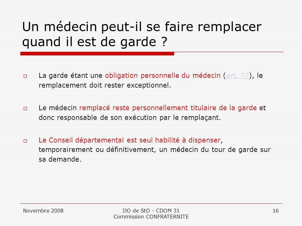 Novembre 2008JJO de StO - CDOM 31 Commission CONFRATERNITE 16 Un médecin peut-il se faire remplacer quand il est de garde ?  La garde étant une oblig