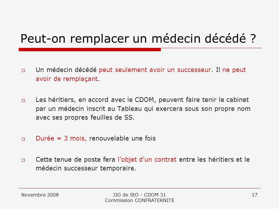 Novembre 2008JJO de StO - CDOM 31 Commission CONFRATERNITE 17 Peut-on remplacer un médecin décédé ?  Un médecin décédé peut seulement avoir un succes