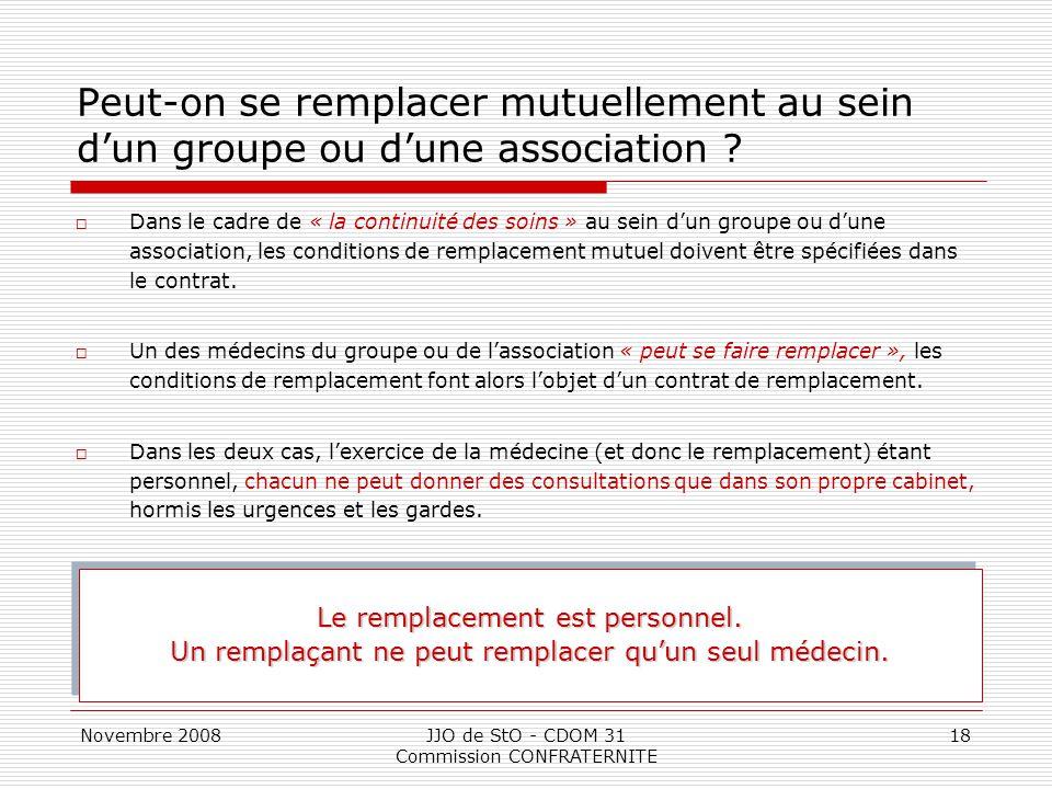 Novembre 2008JJO de StO - CDOM 31 Commission CONFRATERNITE 18 Peut-on se remplacer mutuellement au sein d'un groupe ou d'une association ?  Dans le c