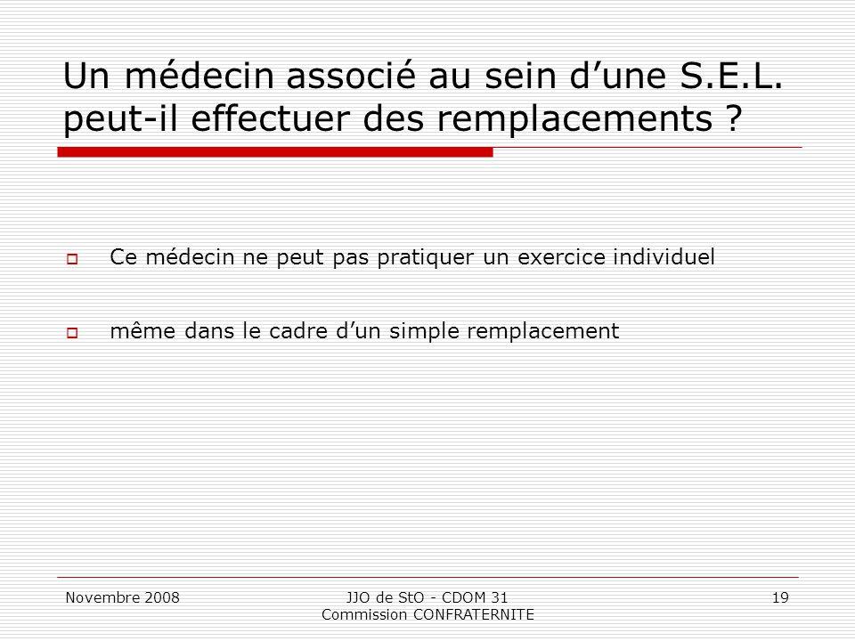 Novembre 2008JJO de StO - CDOM 31 Commission CONFRATERNITE 19 Un médecin associé au sein d'une S.E.L. peut-il effectuer des remplacements ?  Ce médec