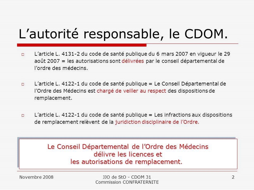 Novembre 2008JJO de StO - CDOM 31 Commission CONFRATERNITE 2 L'autorité responsable, le CDOM.  L'article L. 4131-2 du code de santé publique du 6 mar