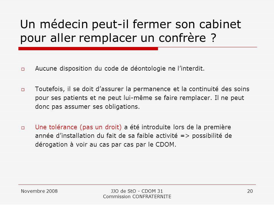 Novembre 2008JJO de StO - CDOM 31 Commission CONFRATERNITE 20 Un médecin peut-il fermer son cabinet pour aller remplacer un confrère ?  Aucune dispos