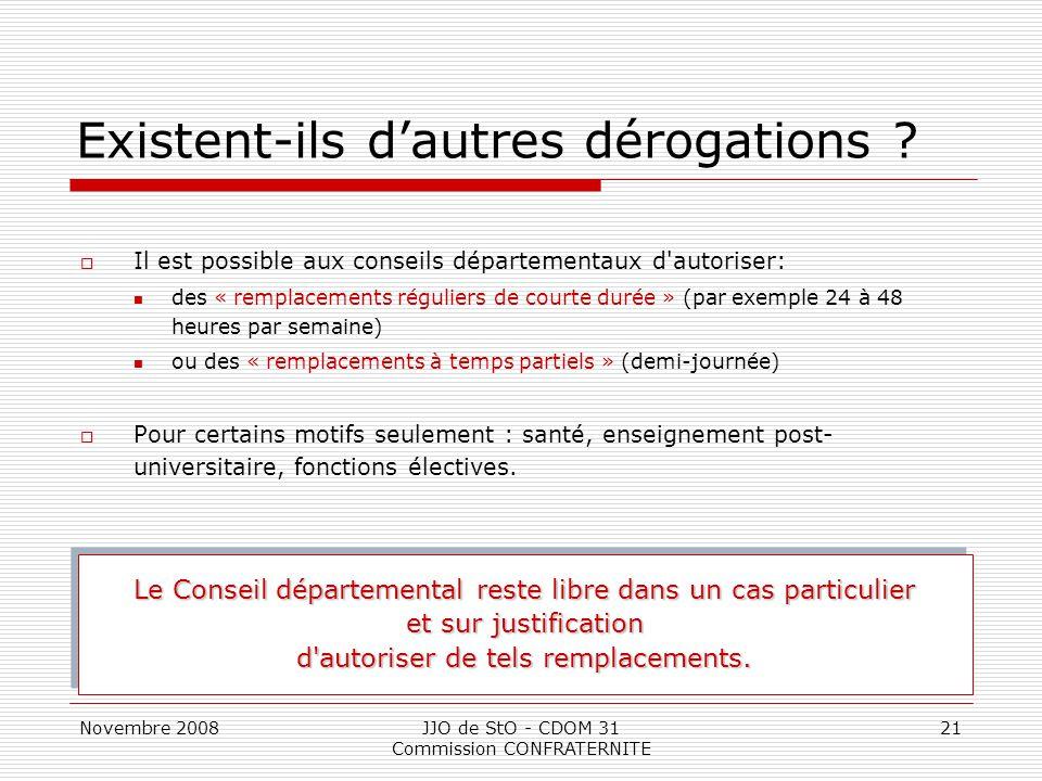 Novembre 2008JJO de StO - CDOM 31 Commission CONFRATERNITE 21 Existent-ils d'autres dérogations ?  Il est possible aux conseils départementaux d'auto
