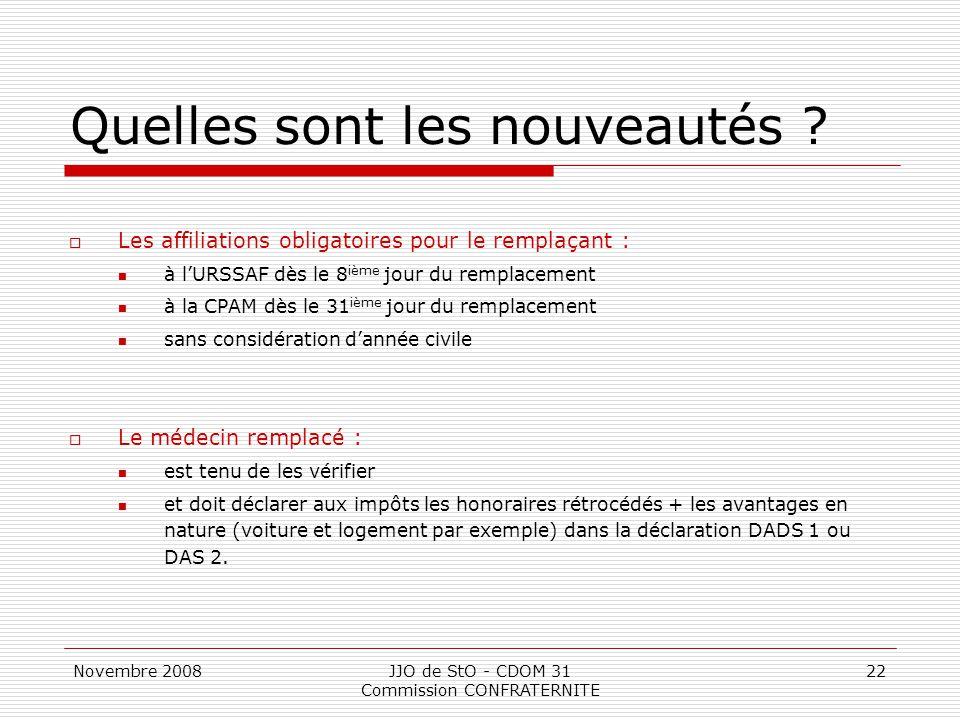 Novembre 2008JJO de StO - CDOM 31 Commission CONFRATERNITE 22 Quelles sont les nouveautés ?  Les affiliations obligatoires pour le remplaçant : à l'U