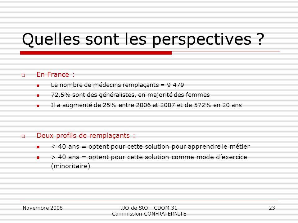 Novembre 2008JJO de StO - CDOM 31 Commission CONFRATERNITE 23 Quelles sont les perspectives ?  En France : Le nombre de médecins remplaçants = 9 479
